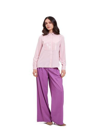 Mizalle Mızalle Önü Pul İşlemeli Gömlek Bluz  Pudra